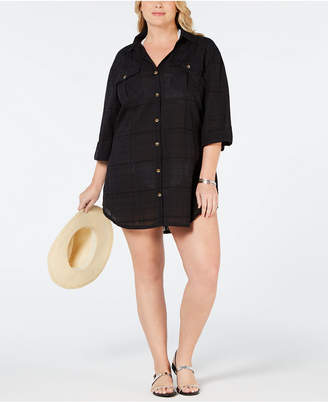 Dotti Plus Size Shirtdress Cover-Up Women Swimsuit
