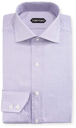 Tom Ford Tattersall Cotton Dress Shirt, Lavender/White
