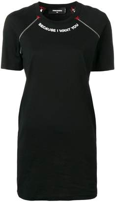 DSQUARED2 zip detail T-shirt dress