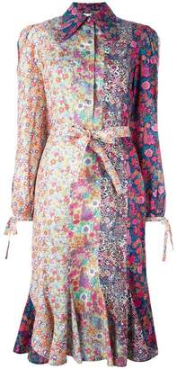 Olympia Le-Tan floral print belted shirt dress