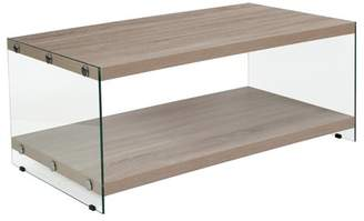 Flash Furniture Weston Collection Natural Wood Grain Finish Coffee Table with Glass Frame and Shelves