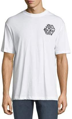 McQ Men's Dropped Shoulder Logo Cube Graphic T-Shirt