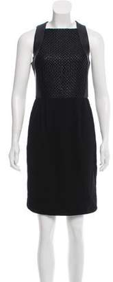L'Agence Leather-Accented Knee-Length Dress w/ Tags