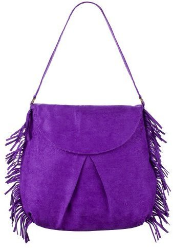 Mossimo Supply Co. Suede Flap with Fringe Hobo - Purple