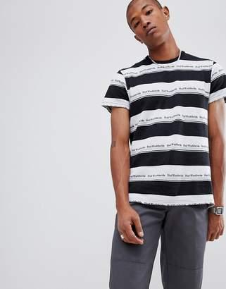 HUF worldwide stripe repeat logo t-shirt in black