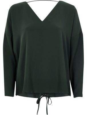 River Island Womens Dark green long sleeve lace-up back top
