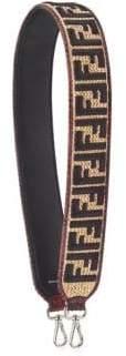 Fendi Threads Embroidered on Raffia With Python Edging Shoulder Strap You