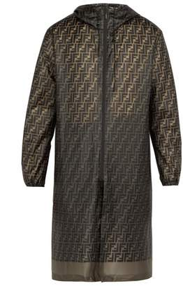 Fendi Logo Print Raincoat - Mens - Brown Multi