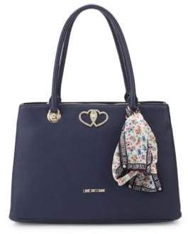 Love Moschino Floral Scarf Faux Leather Tote