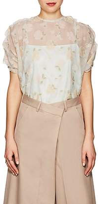08sircus Women's Floral Sheer Organza Top
