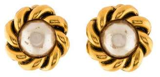 Chanel Faux Pearl Clip-On Earrings