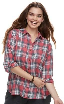 So Juniors' Plus Size SO Plaid Button Down Shirt