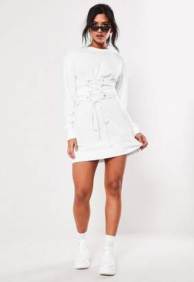 Missguided White Oversized Corset Waist Sweater Dress