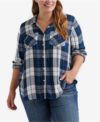 Lucky Brand Trendy Plus Size Plaid Shirt