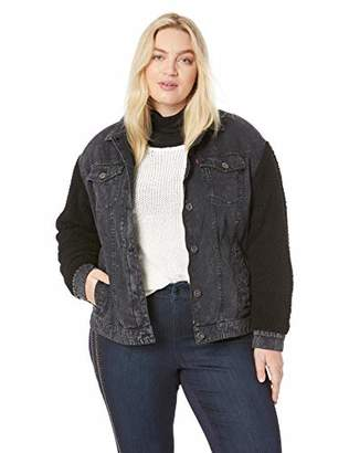 Levi's Women's Plus Size Cotton Trucker Jacket with Sherpa Sleeves