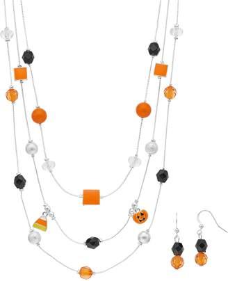 Black & Orange Halloween Bead Multi Strand Necklace & Drop Earring Set