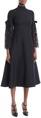 Valentino Heavy Lace Sleeve Empire-Waist Crepe Couture A-Line Mid-Calf Cocktail Dress