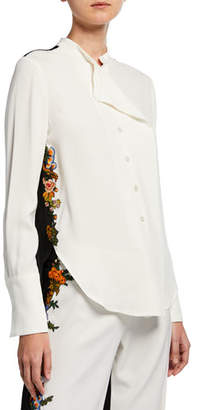 Oscar de la Renta Two-Tone Long-Sleeve Blouse