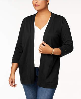 Karen Scott Plus Size Cotton 3/4-Sleeve Cardigan, Created for Macy's
