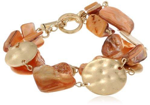 Kenneth Cole New York Orange Shell 2 Row Toggle Bracelet