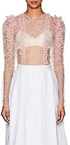 Laura Garcia Collection Women's Agnes Embroidered Tulle Crop Top-Pink