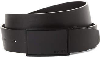 DKNY Logo Plaque Faux Leather Belt