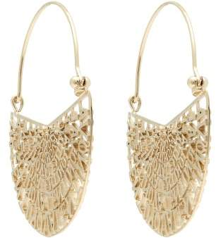 Valentino Laser Cut Logo Hoop Drop Earring - Womens - Gold