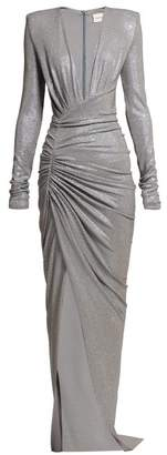 Alexandre Vauthier Crystal Embellished Ruched Gown - Womens - Silver