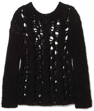 Saint Laurent Distressed Open-knit Sweater - Black