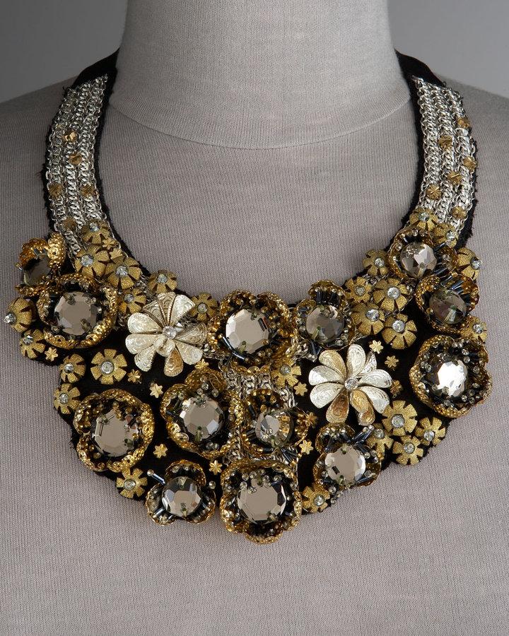 Oscar de la Renta Black & Gold Flower Bib Necklace