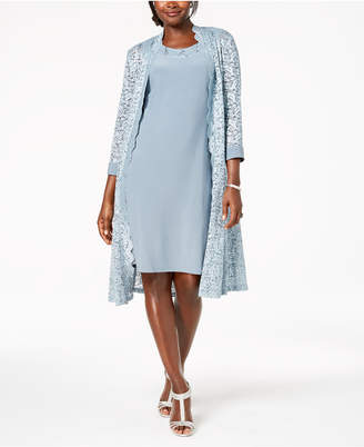 R & M Richards Midi Dress & Sequined Lace Jacket