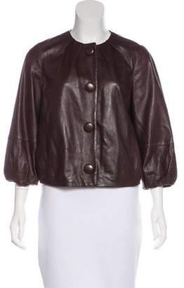 Vince Pleated Leather Jacket
