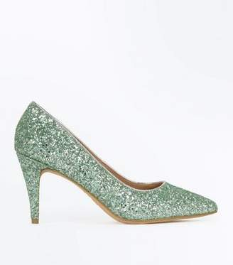 New Look Wide Fit Green Glitter Pointed Wedding Courts