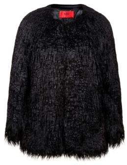 HUGO Boss Relaxed-fit jacket in shaggy faux fur S Black