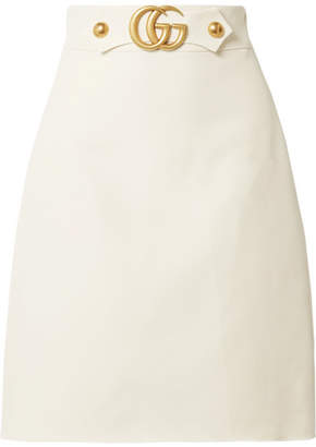 Gucci Embellished Wool And Silk-blend Skirt - Cream