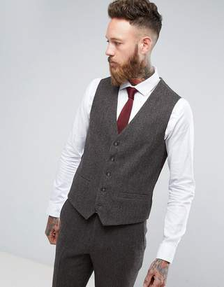Moss Bros Skinny Suit Vest In Brown Tweed