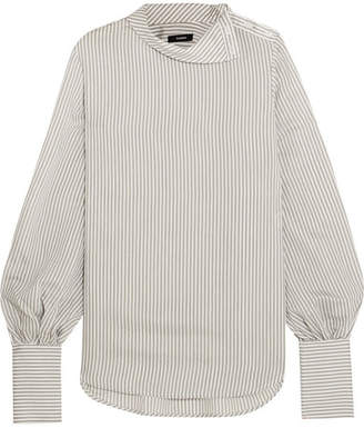 Bassike Striped Crepe Top - Gray