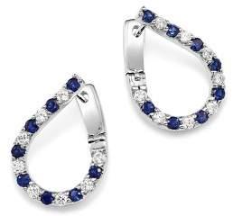 Bloomingdale's Blue Sapphire & Diamond Front-Back Hoop Earrings in 14K White Gold - 100% Exclusive