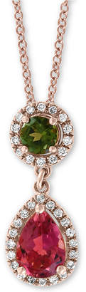 "Effy Multi-Tourmaline (1 ct. t.w.) & Diamond (1/8 ct. t.w.) Drop 18"" Pendant Necklace in 14k Rose Gold"