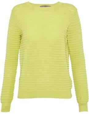 Halston Ribbed-Knit Cotton-Blend Top