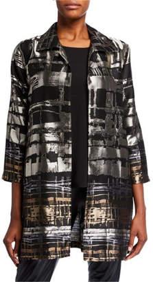 Caroline Rose Plus Size Border Plaid Jacquard Topper Jacket