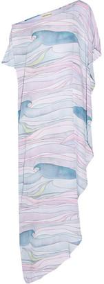 Mara Hoffman - Waves Asymmetric Printed Crepon Maxi Dress - Pastel pink $275 thestylecure.com