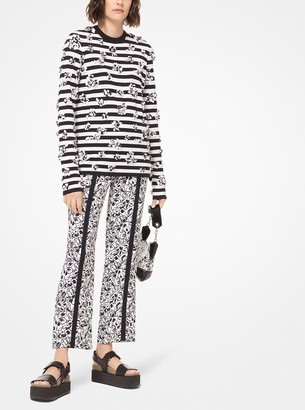Michael Kors Embroidered Striped Cotton-Jersey Long-Sleeve Tee