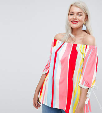 Junarose Bright Stripe Off Shoulder Top
