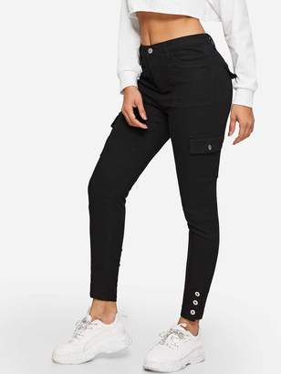 Shein Button Hem Flap Pocket Skinny Jeans