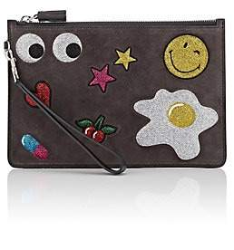 Anya Hindmarch WOMEN'S ALL OVER STICKERS SUEDE CLUTCH - NEUTRAL