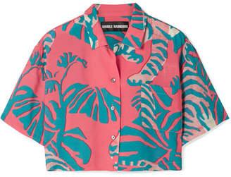 Double Rainbouu - Cropped Printed Poplin Shirt - Coral