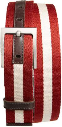 Bally 'Tonni' Stripe Canvas & Leather Belt