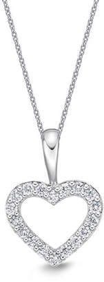 Memoire 18k White Gold Diamond Heart Pendant Necklace