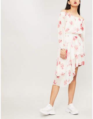 The Kooples Off-the-shoulder floral-print silk-muslin dress